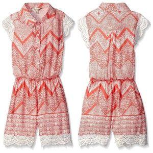 Speechless Girl Crochet Lace Chevron Shorts Romper